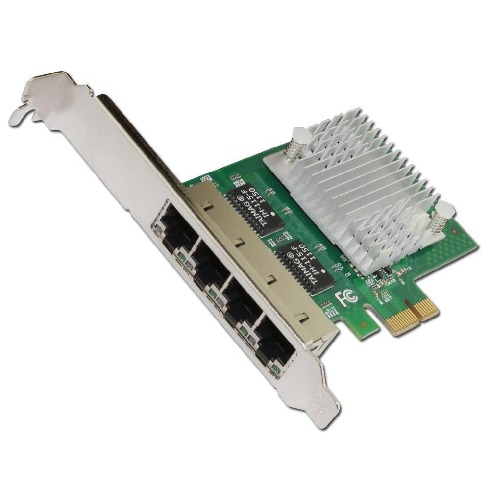E350T4 PCI-E X1 Quatre Ports 10/100/1000 Mbps Gigabit Ethernet Carte Réseau Serveur Adaptateur LAN intel I350-T4 NIC