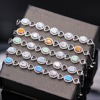 5 Colors Woman Bracelet Platinum Plated Yellow Blue White Pink Orange Zircon Opal Women Bracelet Best