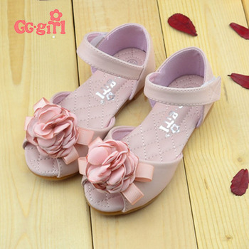 2017 spring and summer Genuine leather Pearl Flower Children Girls Shoes Bow Sandals Princess Shoes Girls Party Shoes 330-A82