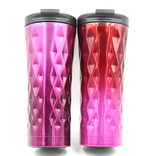 17 Oz 500ml Coffee Mug Set Of 2 Red And Purple Stainless