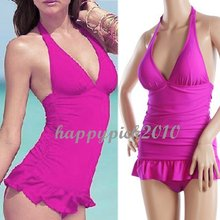 Women's One-piece Halter Ruffle Bottom Swimwear Swimsuit Bathing Suit Beach