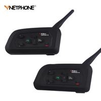 2PCS Wireless Bluetooth Football Referee Intercom Headset Full Duplex Interphone With FM For 4 Users Vnetphone