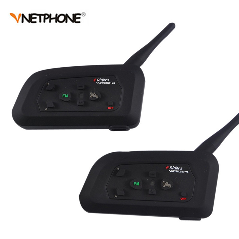 2PCS Wireless Bluetooth Football Referee Intercom Headset Full Duplex Interphone with FM for 4 Users Vnetphone V4C 1200M цена