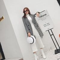 Hodisytian Autumn New Fashion Women Blazers Elegant Long Ladies Suits Slim Full Sleeve Plaid Blaser Feminino