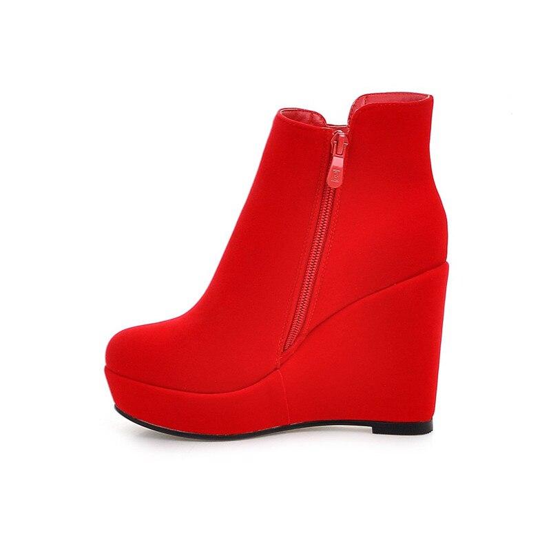 Invierno Novedad Simple Negro Botas Cuñas rojo Zapatos Mujer Flock Tobillo Cremallera 2018 Plataforma Memunia Otoño Punta De Para Redonda qFgqa