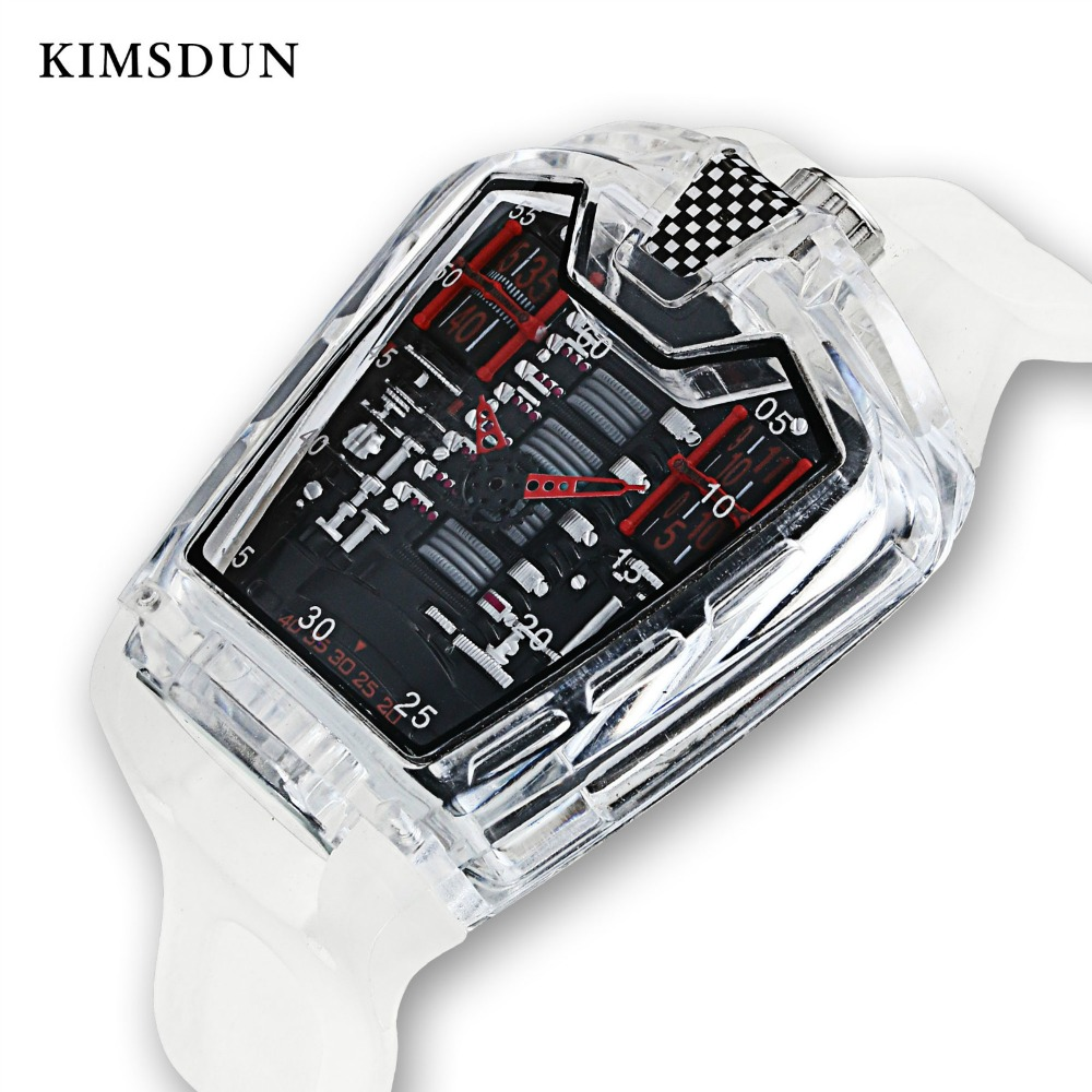KIMSDUN Men's Fashion Trend Personality Classic Quartz Watch Luxury Racing Free Silicone Strap Clock Transparent Movemen Relogio