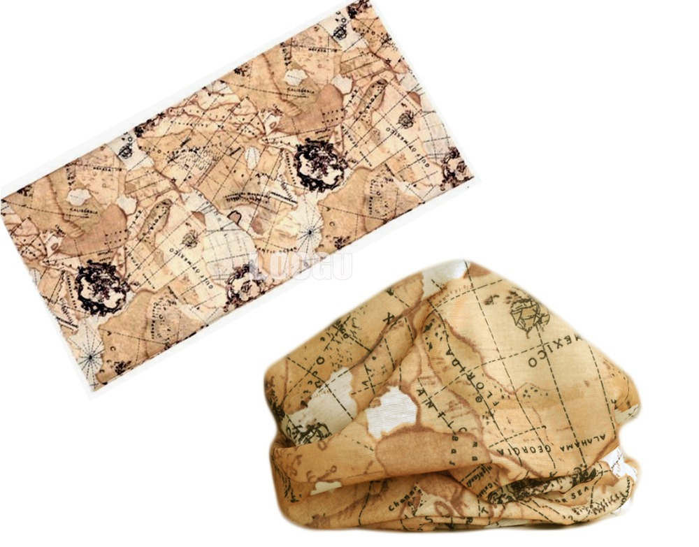 Map Style Polyester Scarves Face Dust Mask Outdoor Sports Bandana Scarf Camping Cycling Headwear Hiking Washouts Magic Scarves
