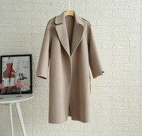 Длинное двустороннее кашемировое шерстяное пальто с отстрочкой, зимнее приталенное пальто с поясом, пальто с отложным воротником