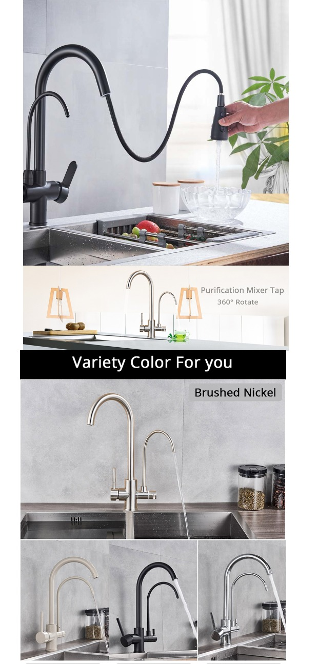 Rozin Purification Kitchen Faucets Black Pull Out Kitchen Water Filter Tap 3 Way Mixer torneira para cozinha de parede Crane