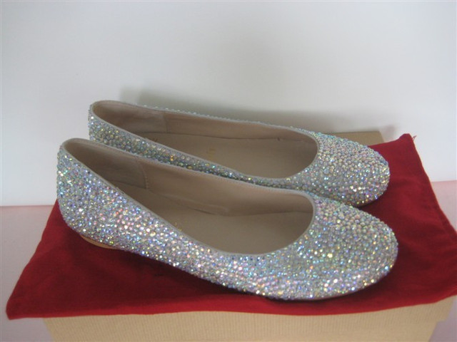 Charmant Fashion Rhinestones Crystals Diamonds Bridal Wedding Shoes Casual Flats  2015 Spring Autumn Brand New Women Silver