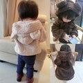 2016 das crianças roupas outerwear criança do sexo masculino urso criança do sexo feminino com capuz espessamento shaggier