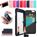Retro Lady Mirror Card Slot Wallet Flip Case For iPhone 6S Plus 7Plus 3D Water Hard PU Leather Cover Christmas Gift