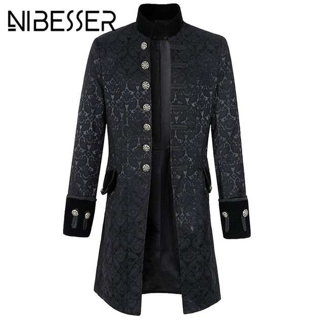 c0e3e9024f1e5 NIBESSER Vintage Long Sleeve Men Coat Fashion Plus Size Gothic Brocade  Jacket Frock Coat Velvet Trim