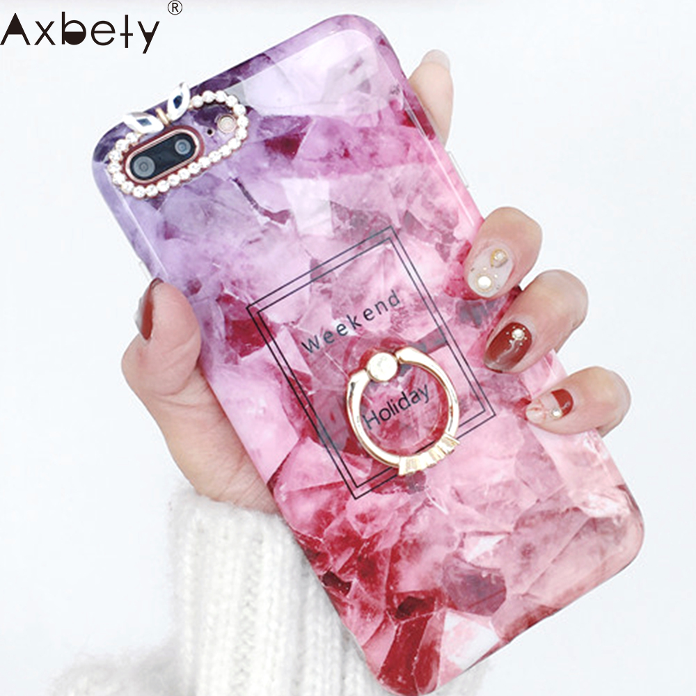 AXBETY Luxury Diamond Ring Phone Cover For iphone 6S Fashion Marble Soft Silicon Case For iphone 6 6S Plus soft TPU Back Cover
