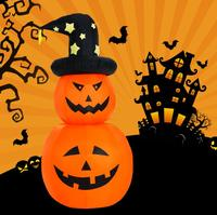Vioslite 2017 Halloween Rotate Pumpkin Elf Spirit Inflatable Decoration With LED Led Lights 180cm With Hat