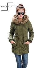 Thickening Warm Fur Collar Long Women Winter Coat  Parka New 2016 Women Jacket  Wool Jacket Hooded Parka Army Green Overcoat