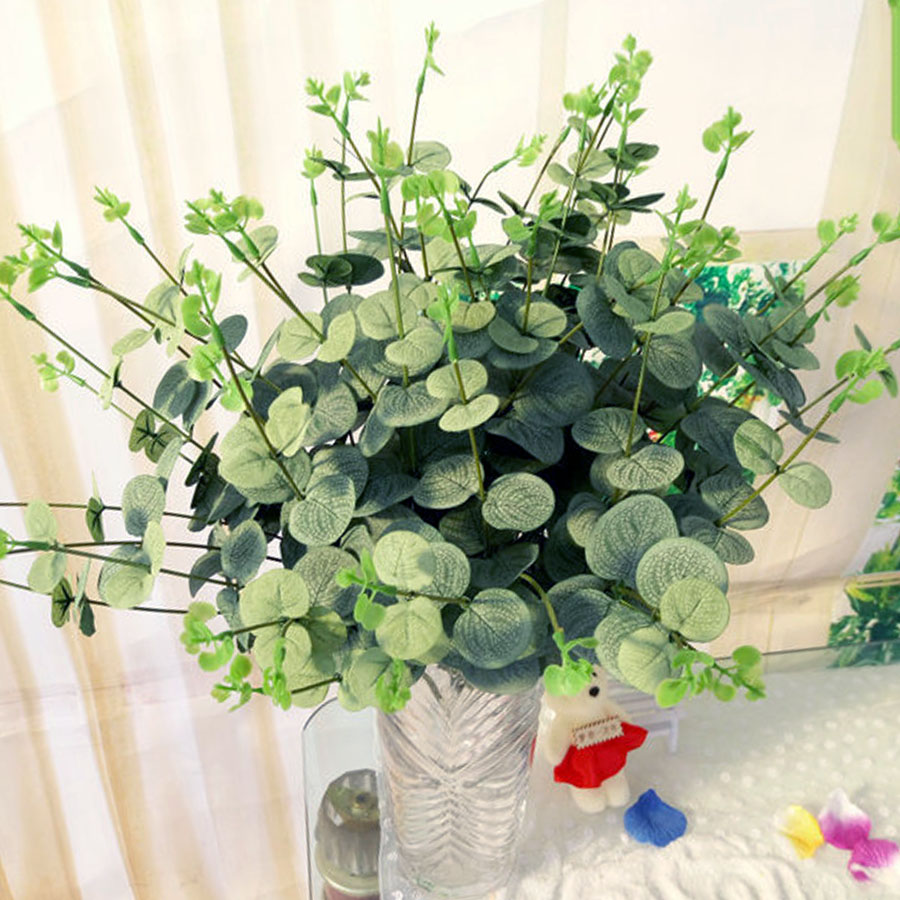 1 BOUQUET ARTIFICIAL EUCALYPTUS LEAF FAKE PLANT DIY WEDDING HOME DECOR Boom
