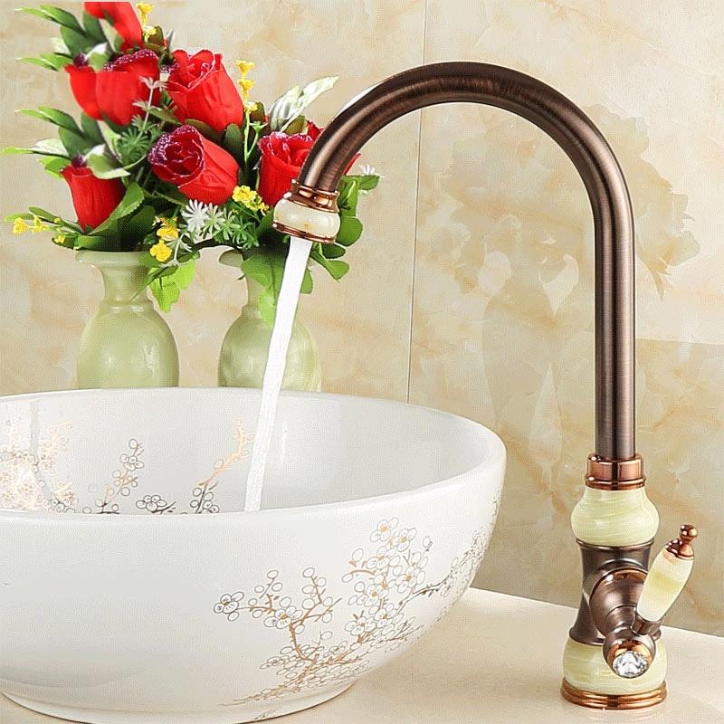 Tout cuivre stand bassin eau froide et chaude robinet marron Bronze antique cuisine européenne évier robinet bassin robinets robinet mélangeur