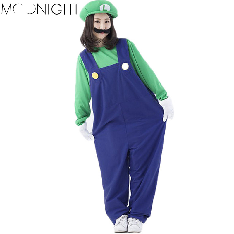 MOONIGHT 4 Pcs Cosplay Super Mario Costumes Women Luigi Clothing Sexy Plumber Costume Super Mario Bros Costumes For Halloween