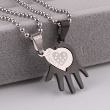 1 pair Black and white Stainless Steel Puzzle Piece Love Heart Couple Pendant Necklaces