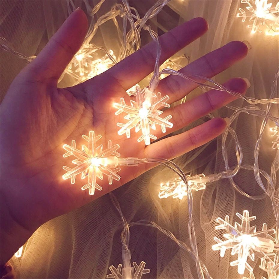 LED Snowflake twinkle string lights Christmas fairy lights Outdoor use Decorations for New Year Xmas Wedding Room Holiday Party