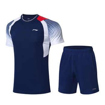 Li-Ning Men Competition Badminton Suits T-shirt+Shorts Set Breathable AT DRY Comfort LiNing Sports Suit Sets AATP019 CAMJ19