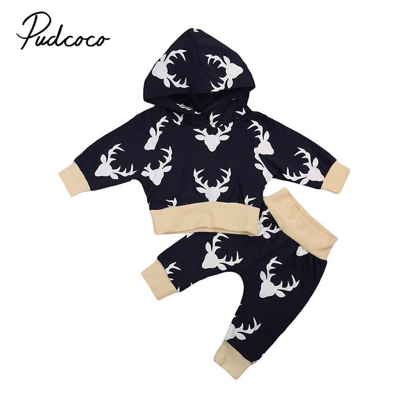 2017 Newborn Toddler Kids Boy Girl Clothes Autumn Style Long Sleeve Hooded Tops+Long Pant Trouser 2PCS Outfit Deer Clothing Set 2017 newborn baby boy clothes summer short sleeve mama s boy cotton t shirt tops pant 2pcs outfit toddler kids clothing set