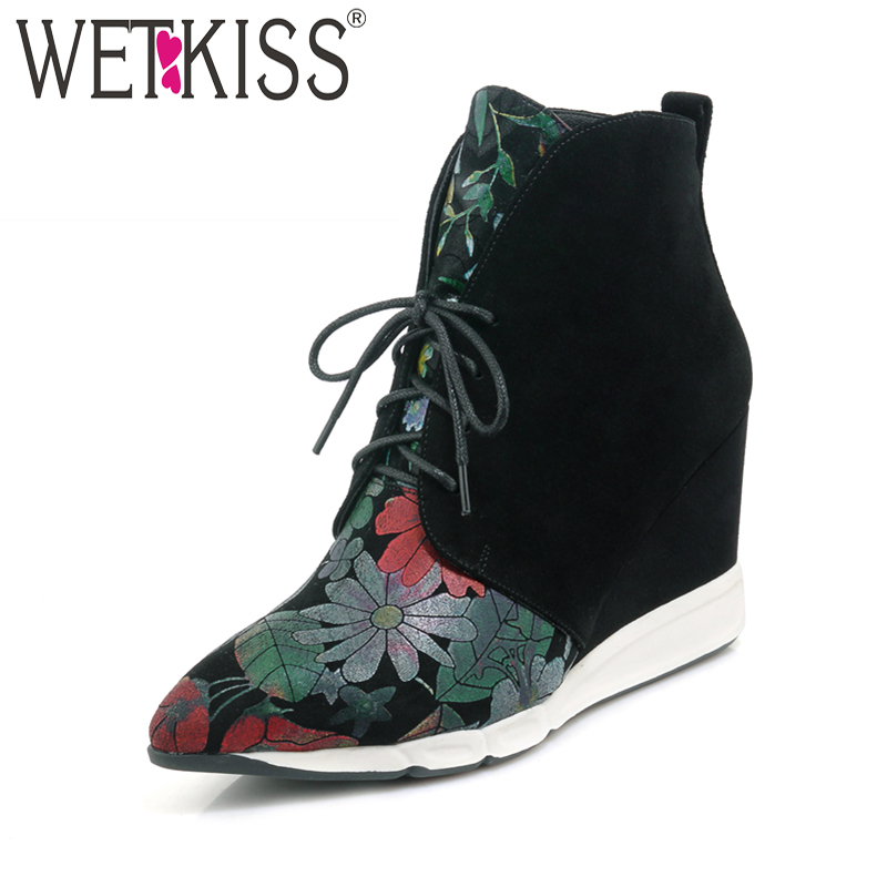 WETKISS Sexy Pointed Toe Ankle Boots 2019 New Arrival Floral Print Winter Boots Platform Lace Up Womens High Wedges ShoesWETKISS Sexy Pointed Toe Ankle Boots 2019 New Arrival Floral Print Winter Boots Platform Lace Up Womens High Wedges Shoes
