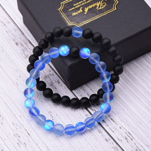 KANGKANG 2 pieces /set Couple jewelry Matte colorful and Black Natural stone bracelets For Women&Men Cool hot Selling bracelet