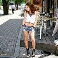 Hot!!! Retro cintura baixa shorts jeans feminino selvagem Sexy1PC Mulheres Verão Moda Vintage Denim Cintura Baixa Jean Shorts Hot