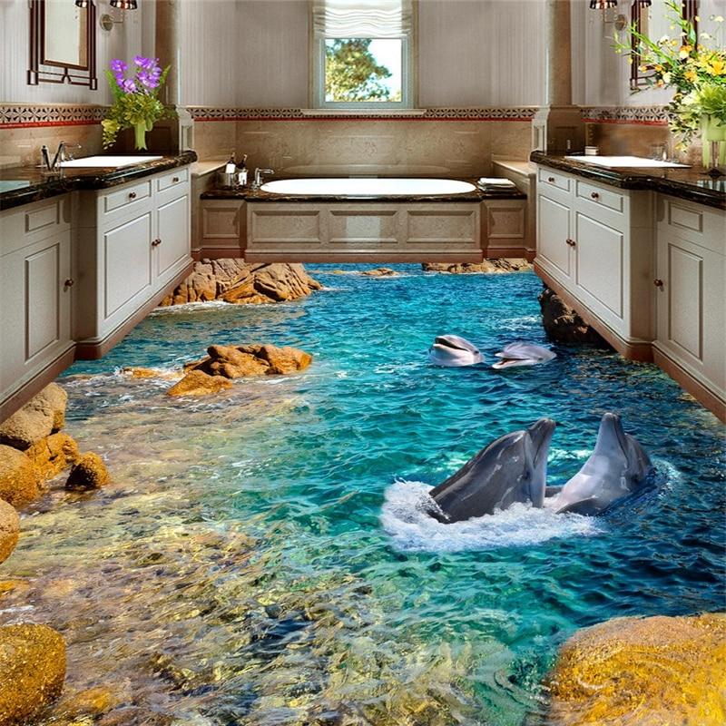beibehang Dolphin Sea custom murals Sea wall papers home decor 3d flooring floor photo wallpaper for walls 3 d papel contact цена и фото