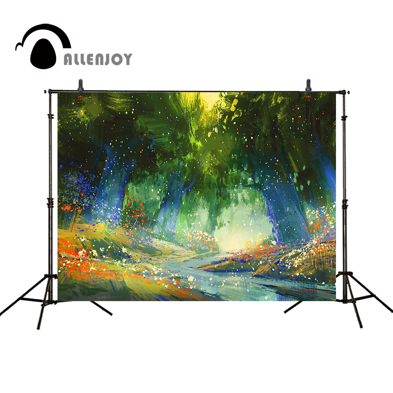 Allenjoy photography backdrops Children background forest creek flowers fairy tale Photo background photography studio funds