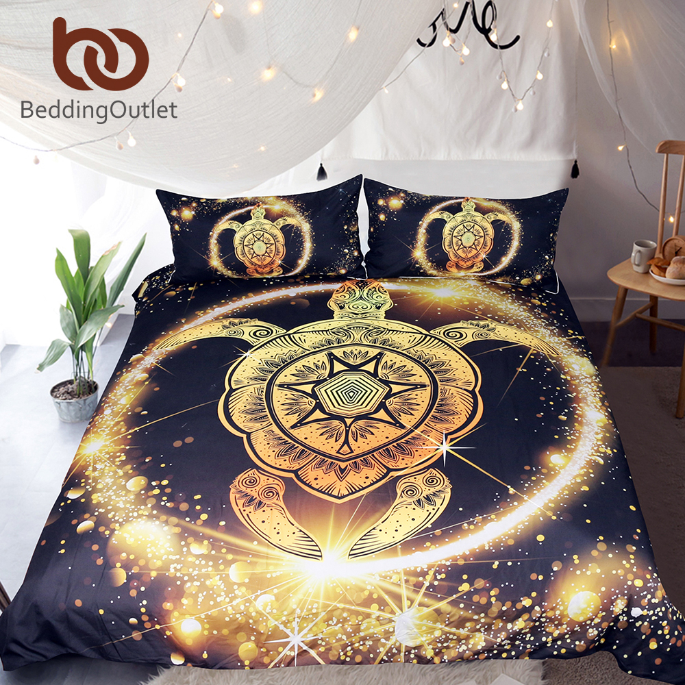 Sitemap Merk Bed Cover Jacquard Beddingoutlet Turtles Bedding Set Golden Tortoise Duvet King Luxury Shining Animal Printed Bohemian Home