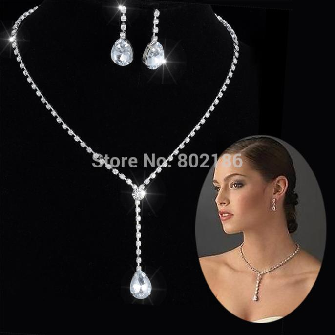 Celebrity Inspired Crystal Tennis Long Necklace Set Earrings Factory Price Wedding Bridal Bridesmaid Jewelry Sets 14f2af048 In From