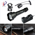 UniqueFire 1501 XRE/XPG Rechargeable LED Flashlight Zoom 3 Modes Led Torch18650+Remote Pressure+Gun Mount+Two Slot Charger