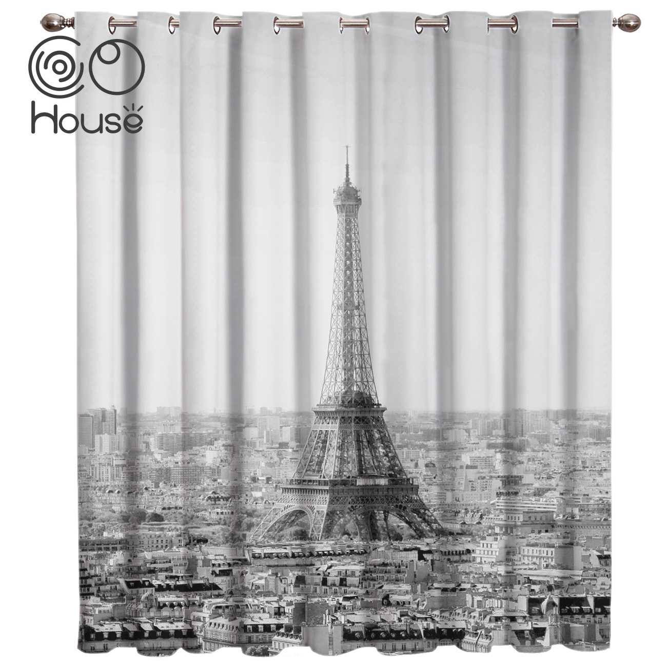 COCOHouse Eiffel Tower Black And White Room Curtains Large Window Living Room Curtain Rod Bedroom Indoor Decor Kids Window Treat