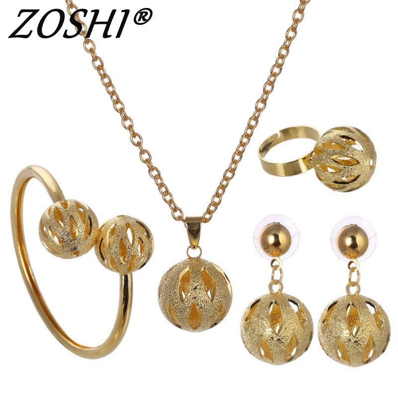 Jewelry-Set Bangle Earrings Necklace Dubai Gold African-Beads Bracelet Pendant Silver-Plated