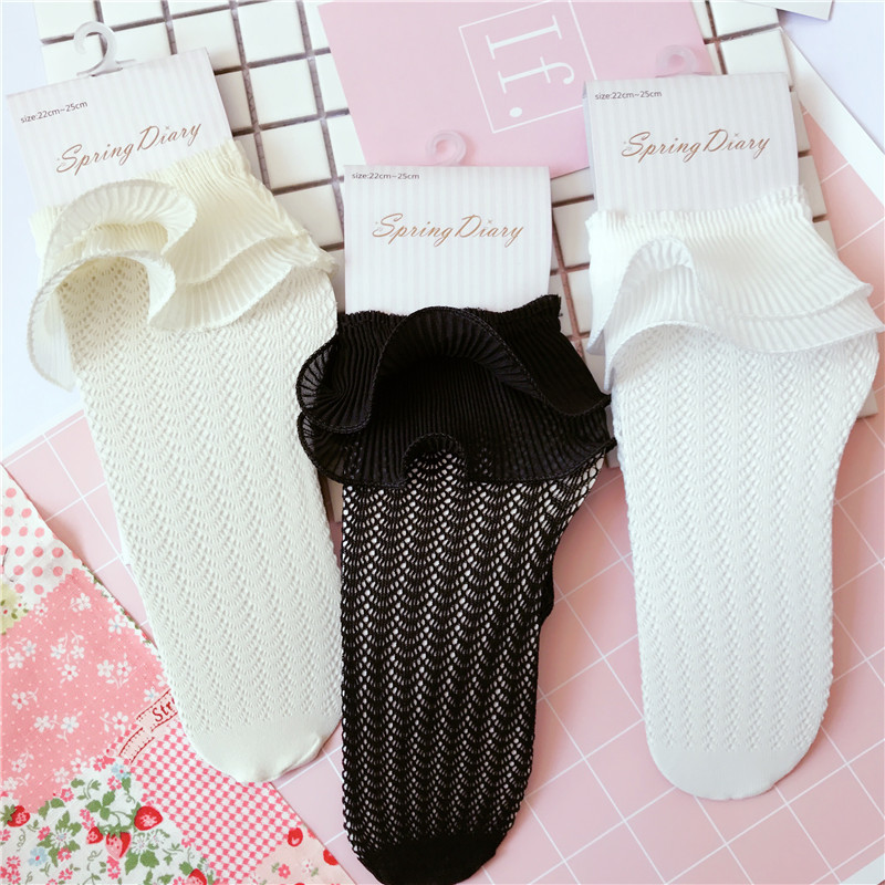 Gadis Korea Gadis Chiffon Ruffle Frilly Ankle Socks Hollow Harajuku Cute Vintage Retro Floral Lady White Fishnet Wedding Summer