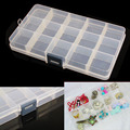 Hot sale 15 grids Detachable Plastic Storage Box Rhinestone Nail Art Tool Case High Quality