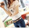 Летняя новинка 2015: женская футболка от модного бренда, футболка с коротким рукавом, расшитая пайетками с мультипликацией, обычная хлопковая футболка размера плюс