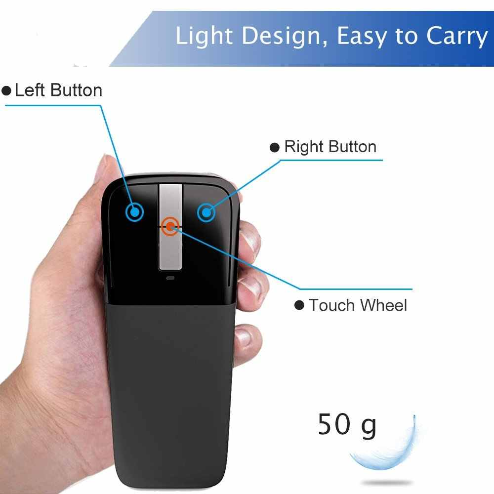 Bluetooth Gấp Chuột Cho Microsoft Arc Touch Chuột Không Dây Có Thể Gập Lại Quang Học 1200 Dpi Chuột Di Động Du Lịch Siêu Mỏng Mause