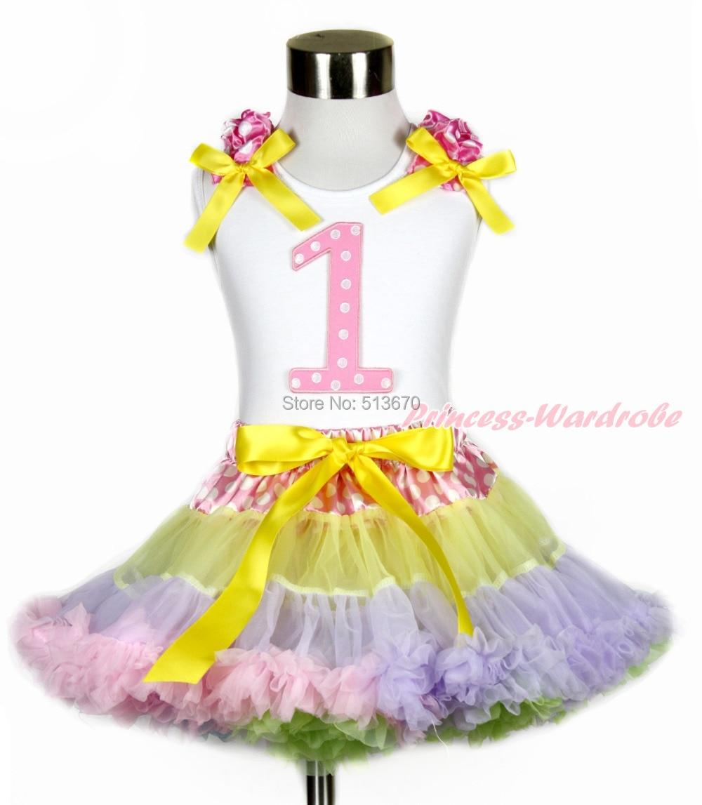 Easter 1ST White Top Pink White Dot Waist Rainbow Girl Pettiskirt 1-8Y MG1222 easter sparkle 3rd hot pink white dot top rainbow stripe skirt set 1 8y mamh170