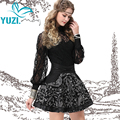 2017 Spring New Yuzi Vintage Pleated Women A-Line Skirt Floral Embroidery High Waist Mini Cotton Skirts X3507Women Clothing saia