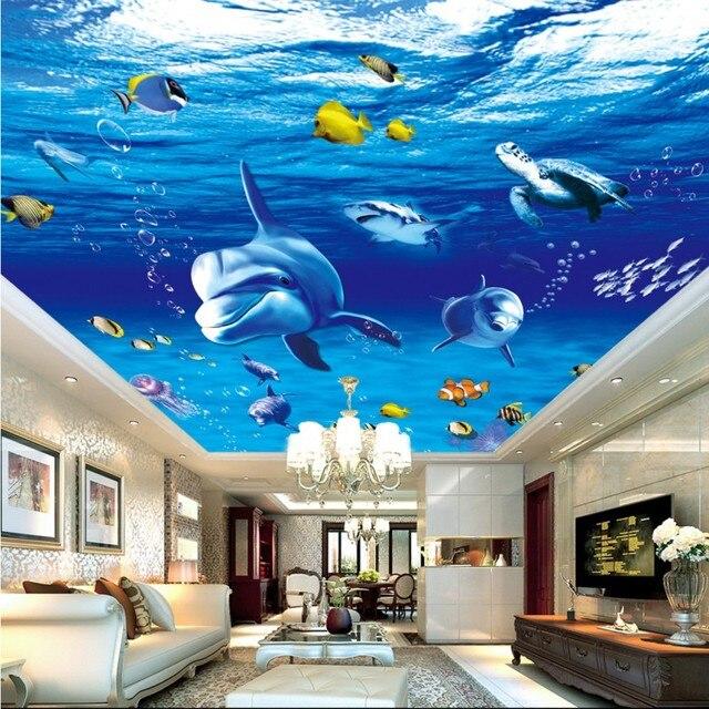 Benutzerdefinierte 3d tapete Unterwasserwelt Delphin Deckenmalerei ...