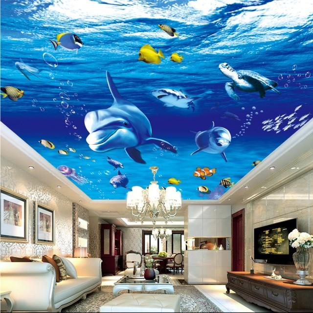 Custom 3d wallpaper Underwater World Dolphin Ceiling Mural Design ...
