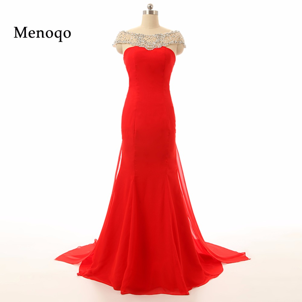 Vestidos de festa Real Photo Red Mermaid Cap sleeve Beaded Chiffon Watteau train Special Occasion Elegant long   prom     dresses   2019