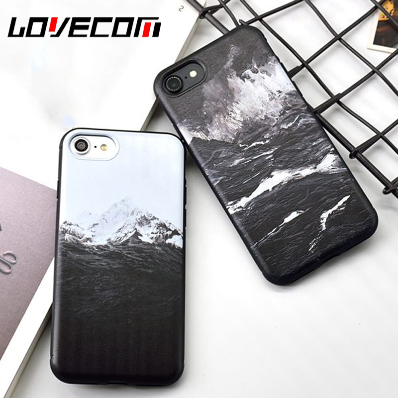 New Arrival Sea waves Snow Mountains Soft TPU Back Cover Coque Case For iPhone 6 6S 7 8  ...