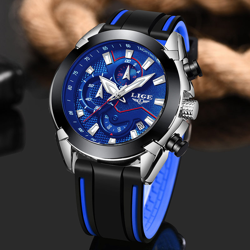LIGE Mens Watches Silicone Strap Top Brand Luxury Waterproof Sport Chronograph Quartz Business Wristwatch Watch Men Reloj Hombre