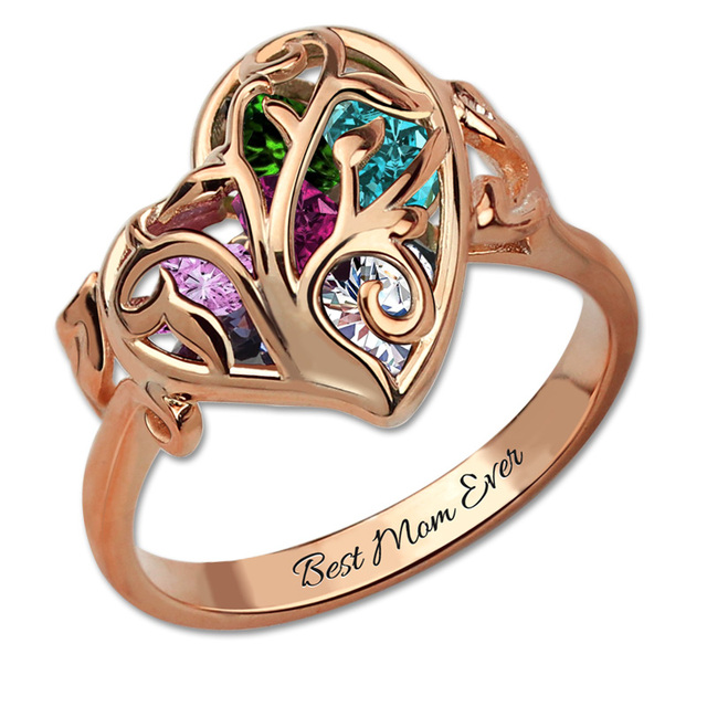 Ailin Cutomized Birthstone Cage Ring Rose Gold Color Family Tree Mother S Of