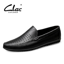 Buy CLAX Man Moccasins Genuine Leather Men's Summer Shoe Loafers HOLLOW Breathable Male Boat Shoes Slipons directly from merchant!